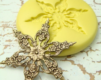 Snowflake (design 2)  - Flexible Silicone Mold - Push Mold, Jewelry Mold, Polymer Clay Mold, Resin Mold, Craft Mold, PMC Mold