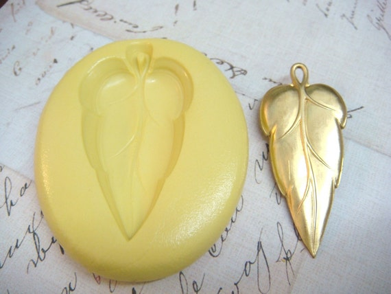 LARGE LEAF with BAIL - Flexible Silicone Mold - Push Mold, Polymer Clay Mold, Resin Mold, Pmc Mold