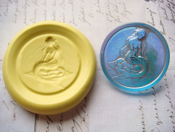 MERMAID (round) - Flexible Silicone Mold - Push Mold, Jewelry Mold, Polymer Clay Mold, Resin Mold, Craft Mold, Food Mold, PMC Mold