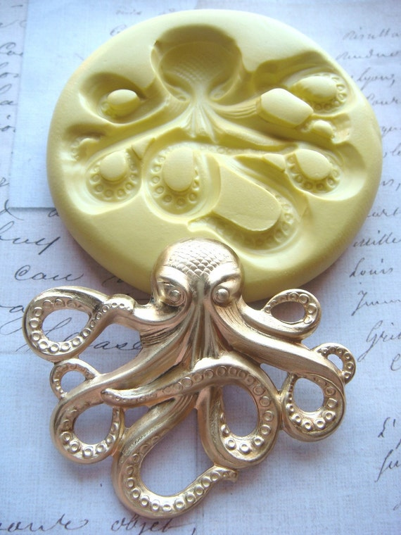 Steampunk - OCTOPUS (large) - Flexible Silicone Mold - Push Mold, Jewelry Mold, Polymer Clay Mold, Resin Mold, Craft Mold,PMC Mold
