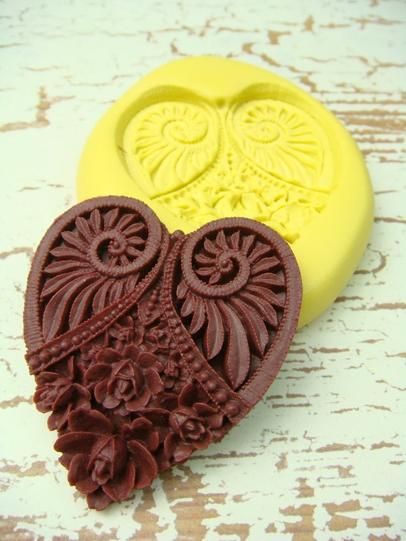 Victorian Heart with Flowers (x-large) - Flexible Silicone Mold - Jewelry Mold, Polymer Clay Mold, Resin Mold, Craft Mold, PMC Mold