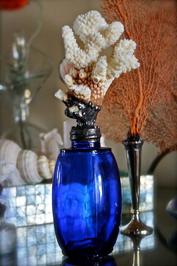 Cobalt Blue Vintage Vessel With Billowy Sea Coral Sea Life Sculpture Coastal Home Decor