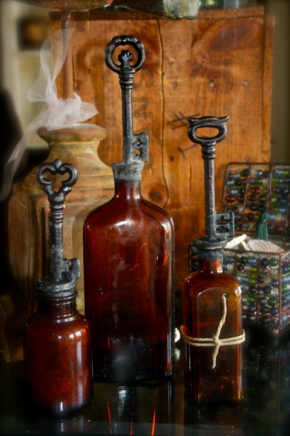 Vintage Key Topped Amber Glass Bottles Set Of Three Rustic Art Bohemian Home Decor
