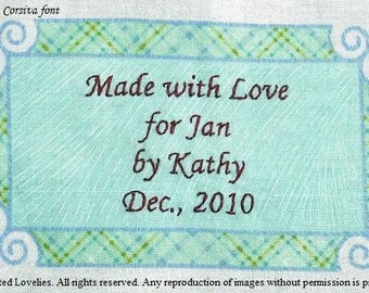 Quilt Label - Green & Gold Plaid Frame, Custom Made and Hand Embroidered