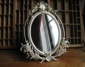 Hollywood Regency Vintage Mirror Silver Metal Vanity Mirror