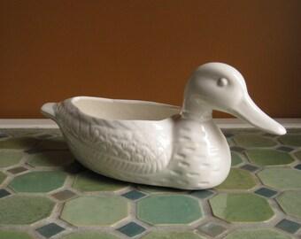 White Ceramic Duck Planter / White Pottery Bird