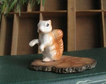 Miniature Squirrel Figurine on Natural Wood Woodland Wedding Cake Topper