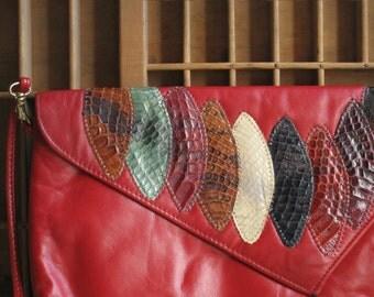 Vintage 80s Purse Red Vinyl 80s Snakeskin Disco Purse or Handbag