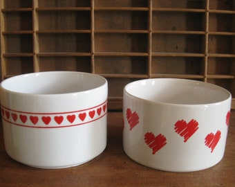 Vintage 80s Heart Containers / Red Heart and White Ceramic 80s Vases