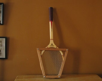 Vintage Tennis Racket with Wood Frame / Red and White Aristocrat Tennis Racket