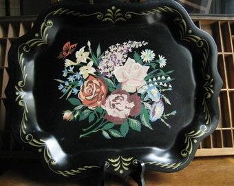 Vintage Toleware Tray Painted with Roses and Flowers Cottage Chic