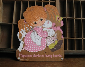 Vintage Nursery Decor Girl with with Kitten Wood Wall Hanging for Hallmark