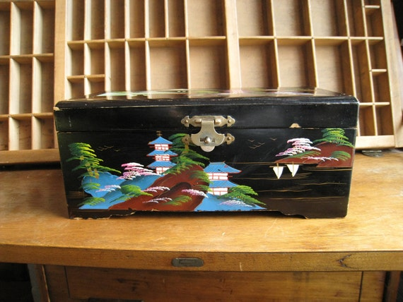 Reserved for Meaghan Vintage Jewelry Box Chinoiserie Black Lacquer / Hollywood Regency Box