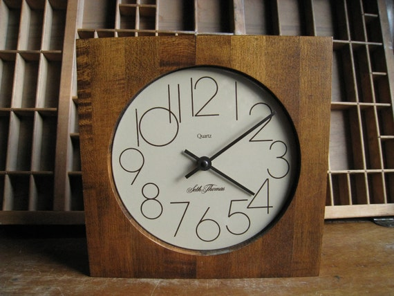Vintage Modern Wall Clock / Seth Thomas Square Wood Clock