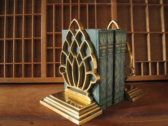 Vintage Brass Bookends / Hollywood Regency Brass Bookends