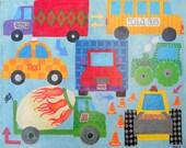 Manic Monday  18 x 24  Original Canvas - Free Shipping - transportation cars trucks wall art  room decor
