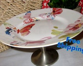 Butterfly Beauty Pedestal Cake Stand Serving Piece - Candle Holder - Plant Stand - Cloche - Cake Plate