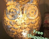 Metallic Glass Golden Owl Accent Lamp Night Light - Home Decor