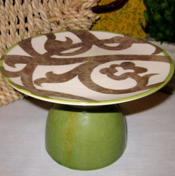 Swirly Twirly Pedestal Cake Stand Serving Piece - Candle Holder - Plant Stand - Cloche - Cake Plate