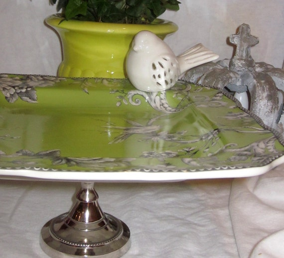 Lg. Lime Bird Toile Pedestal Cake Stand Serving Piece - Candle Holder - Plant Stand - Cloche - Cake Plate