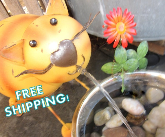 Spitty Kitty Fountain- Indoor or Outdoor Water Fountain- Free Shipping