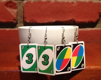 One Pair of Recycled/ Upcycled Miniature Uno Card Earrings- Variety of Colors and Numbers Available