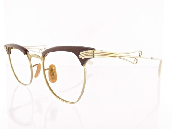 Vintage 1940's Bausch & Lomb 12k Gold Filled cat eye eyeglasses with brown zyl combo - FREE DOMESTIC SHIPPING