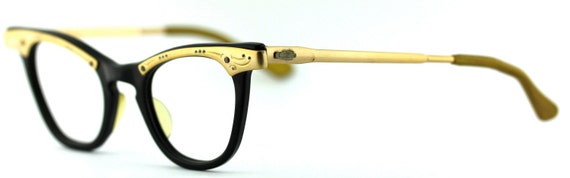 Vintage deadstock 1950's Fineline cat eye combo eyeglasses balck frames - FREE DOMESTIC SHIPPING