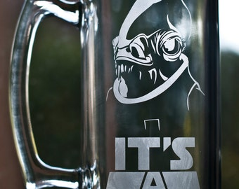 "Star Wars - Admiral Ackbar ""IT'S A TRAP"" Custom Etched Glass Mug"