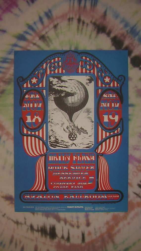 Avalon Ballroom Family Dog Poster - Stanley Mouse Alton Kelly - Quicksilver, Daily Flash, Country Joe and the Fish