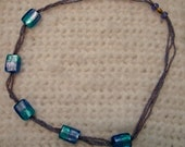 Free Shipping  Handmade Teal and Lavender Necklace