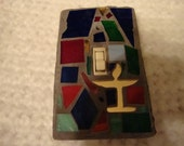 Mosaic Stained Glass Flaming Chalice Switchplate