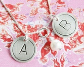 Double 5/8 inch handstamped personalized sterling silver necklace