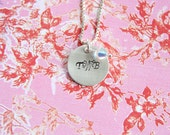 Initially yours... 3/4  inch handstamped personalized sterling silver necklace.