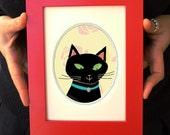 SALE - Black Cat vintage feel framed