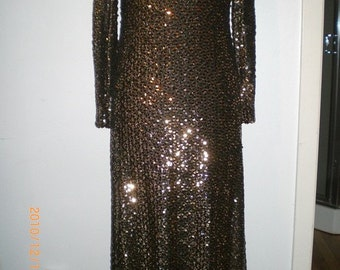 70s head to toe gold and black sequined Gown