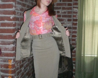 1970s fully lined wool skirt and vest set