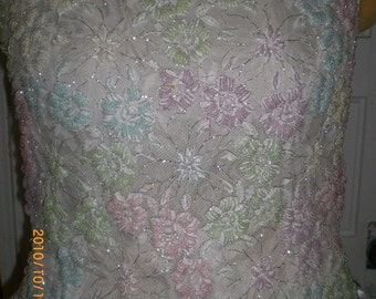 1960s french lace pastel beaded blouse