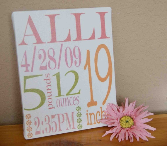 20% OFF SALE- Baby Birth Announcement Wall Art Canvas