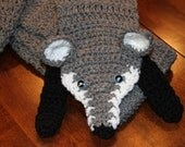 Adorable Crocheted Grey Heather Fox Scarf - Winter warmth accessory