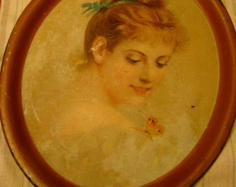 OH SO Lovely Vintage Tin Litho Beautiful Woman Tray