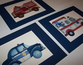 emergency vehicles cars wall art prints  police car firetruck ambulance  set of 3 matted navy