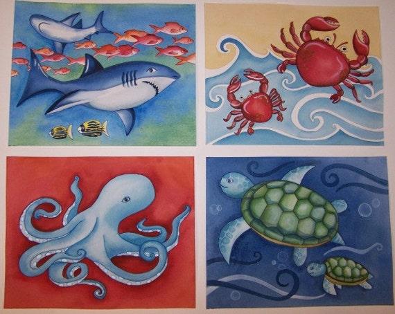 Ocean Animals Boy Nursery Wall Art Decor By Theprincessandpea