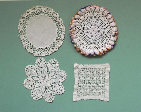 4 Vintage Pretty Decorative Doilies Lot