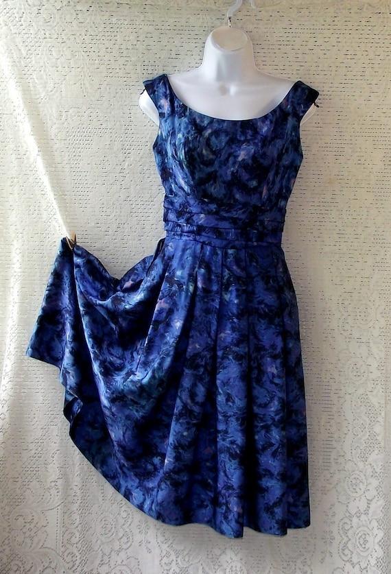 Vintage Harvey Berin 1960's Deep Ocean Blue Designer Evening Dress Small