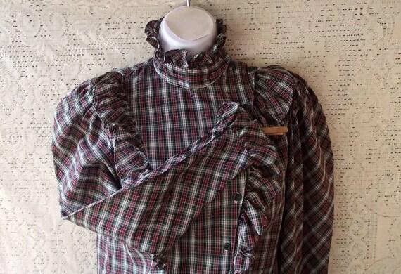 Vintage Carrie Beene 1980s Plaid Ruffles Victorian Western Shirt