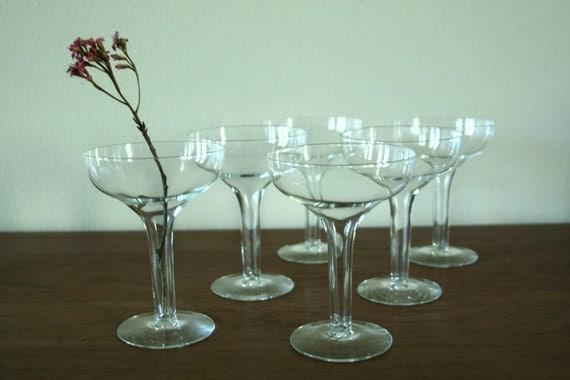 Vintage set of 6 hollow stem champagne glasses - Hollow stem champagne glasses ...