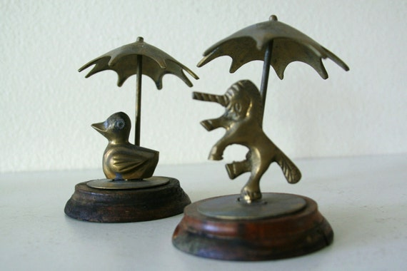 Reserved...Vintage brass Duck and Unicorn