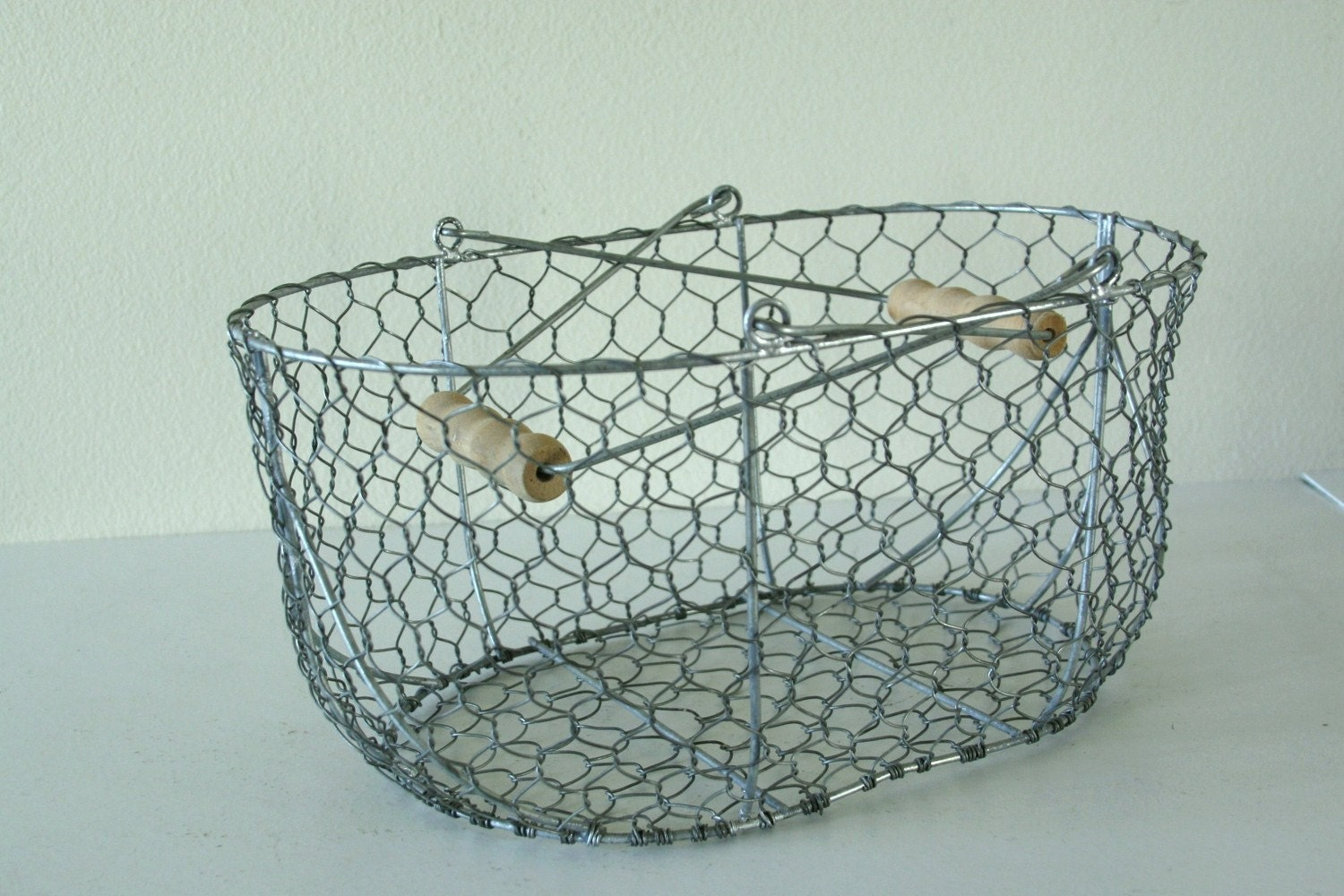 vintage chicken wire basket. Black Bedroom Furniture Sets. Home Design Ideas