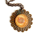 Antique Button Jewelry - Sunflower Necklace - Industrial Jewelry - Antique Button Necklace - Upcycled Jewelry - Glass Button Necklace